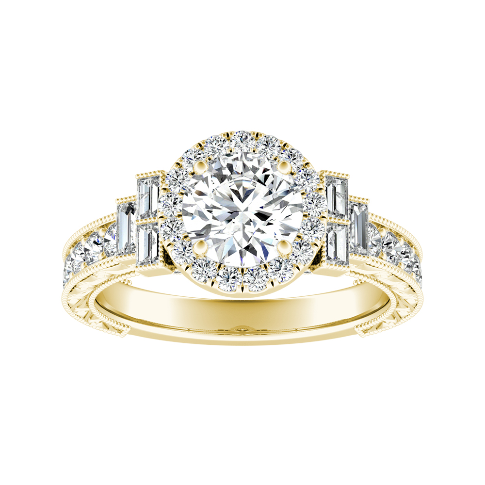 KAYLA Vintage Halo Diamond Engagement Ring In 14K Yellow Gold