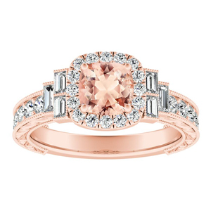 KAYLA Vintage Halo Morganite Engagement Ring In 14K Rose Gold With 1.00 Carat Cushion Stone