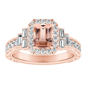 KAYLA Vintage Halo Morganite Engagement Ring In 14K Rose Gold With 1.00 Carat Emerald Stone