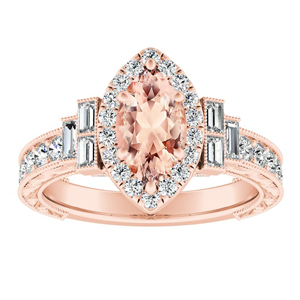 KAYLA Vintage Halo Morganite Engagement Ring In 14K Rose Gold With 1.00 Carat Marquise Stone