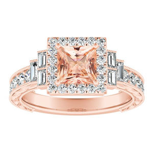 KAYLA Vintage Halo Morganite Engagement Ring In 14K Rose Gold With 1.00 Carat Princess Stone