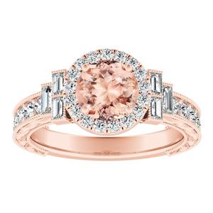 KAYLA Vintage Halo Morganite Engagement Ring In 14K Rose Gold With 1.00 Carat Round Stone