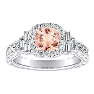 KAYLA Vintage Halo Morganite Engagement Ring In 14K White Gold With 1.00 Carat Cushion Stone