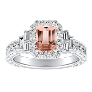 KAYLA Vintage Halo Morganite Engagement Ring In 14K White Gold With 1.00 Carat Emerald Stone