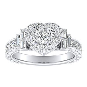 KAYLA Halo Diamond Engagement Ring In 14K White Gold With Heart Diamond In H-I SI1-SI2 Quality