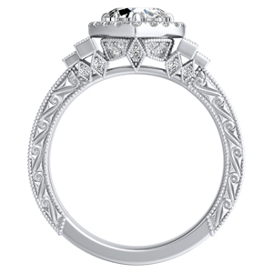 KAYLA Vintage Halo Diamond Engagement Ring In 14K White Gold