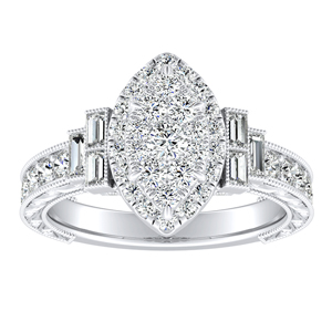 KAYLA Halo Diamond Engagement Ring In 14K White Gold With Marquise Diamond In H-I SI1-SI2 Quality
