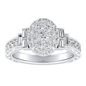 KAYLA Halo Diamond Engagement Ring In 14K White Gold With Oval Diamond In H-I SI1-SI2 Quality