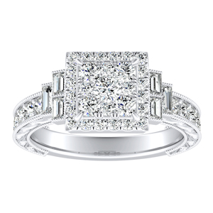 KAYLA Halo Diamond Engagement Ring In 14K White Gold With Princess Diamond In H-I SI1-SI2 Quality
