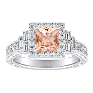 KAYLA Vintage Halo Morganite Engagement Ring In 14K White Gold With 1.00 Carat Princess Stone