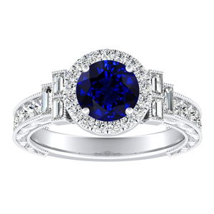 KAYLA Vintage Halo Blue Sapphire Engagement Ring In 14K White Gold With 0.30 Carat Round Stone