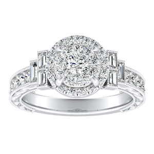 KAYLA Halo Diamond Engagement Ring In 14K White Gold With Round Diamond In H-I SI1-SI2 Quality
