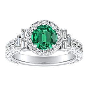 KAYLA Vintage Halo Green Emerald Engagement Ring In 14K White Gold With 0.30 Carat Round Stone