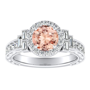 KAYLA Vintage Halo Morganite Engagement Ring In 14K White Gold With 1.00 Carat Round Stone