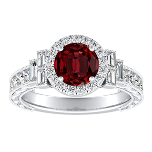 KAYLA Vintage Halo Ruby Engagement Ring In 14K White Gold With 0.50 Carat Round Stone