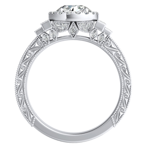 KAYLA Vintage Halo Diamond Engagement Ring In 14K White Gold With 0.50ct. Round Diamond