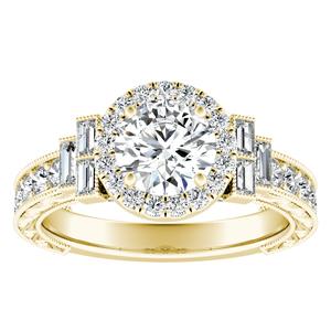 KAYLA Vintage Halo Diamond Engagement Ring In 14K Yellow Gold