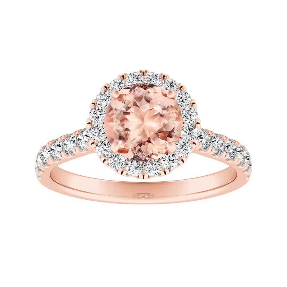 PIPER Halo Morganite Engagement Ring In 14K Rose Gold With 4.00 Carat Round Stone
