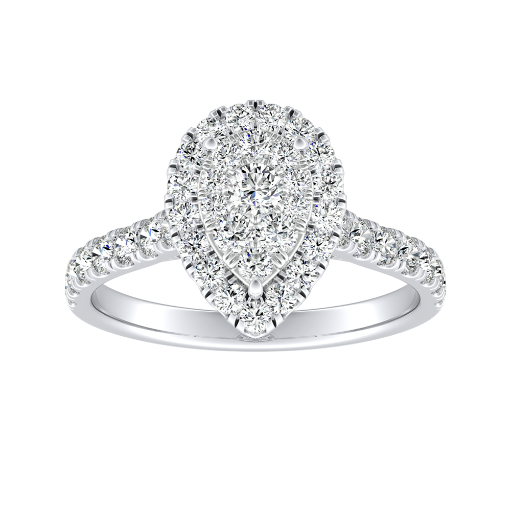 PIPER Halo Diamond Engagement Ring In 14K White Gold With Pear Diamond In H-I SI1-SI2 Quality
