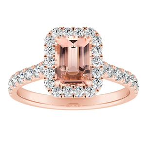 PIPER Halo Morganite Engagement Ring In 14K Rose Gold With 1.00 Carat Emerald Stone