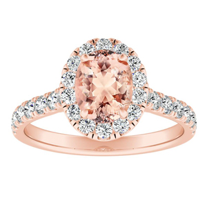 PIPER Halo Morganite Engagement Ring In 14K Rose Gold With 1.00 Carat Oval Stone