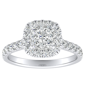 PIPER Halo Diamond Engagement Ring In 14K White Gold With Cushion Diamond In H-I SI1-SI2 Quality