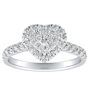 PIPER Halo Diamond Engagement Ring In 14K White Gold With Heart Diamond In H-I SI1-SI2 Quality