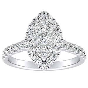 PIPER Halo Diamond Engagement Ring In 14K White Gold With Marquise Diamond In H-I SI1-SI2 Quality