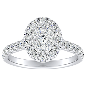 PIPER Halo Diamond Engagement Ring In 14K White Gold With Oval Diamond In H-I SI1-SI2 Quality