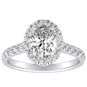 PIPER Halo Diamond Engagement Ring In 14K White Gold