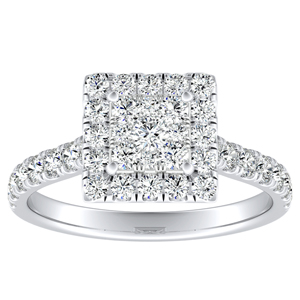 PIPER Halo Diamond Engagement Ring In 14K White Gold With Princess Diamond In H-I SI1-SI2 Quality