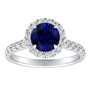 PIPER Halo Blue Sapphire Engagement Ring In 14K White Gold With 0.30 Carat Round Stone