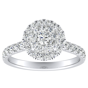 PIPER Halo Diamond Engagement Ring In 14K White Gold With Round Diamond In H-I SI1-SI2 Quality