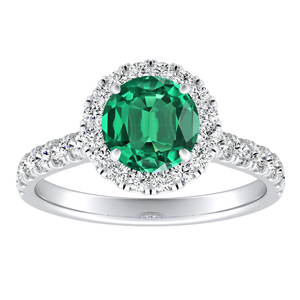 PIPER Halo Green Emerald Engagement Ring In 14K White Gold With 0.30 Carat Round Stone