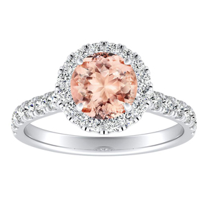 PIPER Halo Morganite Engagement Ring In 14K White Gold With 4.00 Carat Round Stone