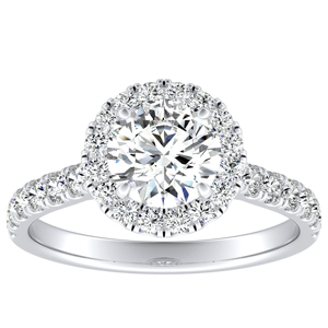 PIPER Halo Diamond Engagement Ring In 14K White Gold With 0.50ct. Round Diamond