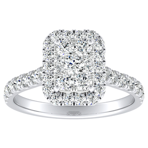 PIPER Halo Diamond Engagement Ring In 14K White Gold With Radiant Diamond In H-I SI1-SI2 Quality