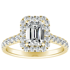 PIPER Halo Diamond Engagement Ring In 14K Yellow Gold With GIA Certified 0.75 Carat Emerald Diamond