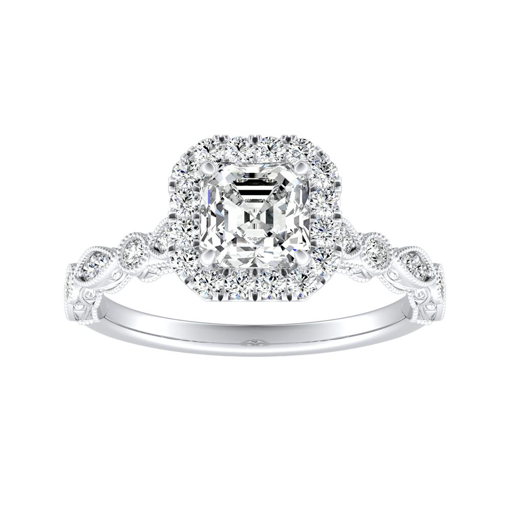 EMILIA Halo Diamond Engagement Ring In 18K White Gold