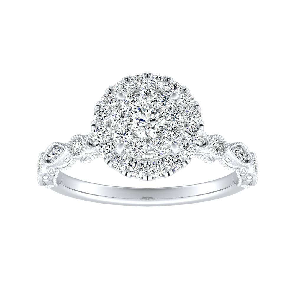 EMILIA Halo Diamond Engagement Ring In 14K White Gold With Round Diamond In H-I SI1-SI2 Quality