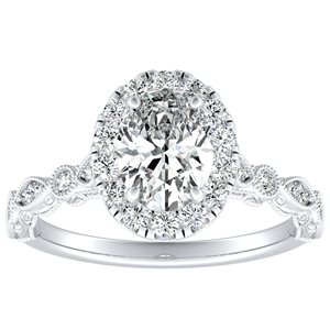 EMILIA Halo Diamond Engagement Ring In 14K White Gold With 0.50ct. Oval Diamond
