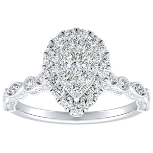 EMILIA Halo Diamond Engagement Ring In 14K White Gold With Pear Diamond In H-I SI1-SI2 Quality