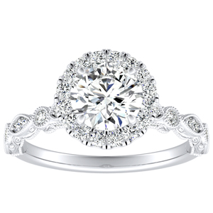 EMILIA Halo Moissanite Engagement Ring In 14K White Gold With 0.50 Carat Round Stone