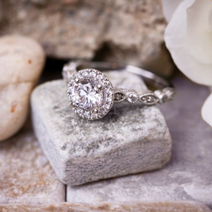 EMILIA Halo Diamond Engagement Ring In 14K White Gold With 0.50ct. Round Diamond