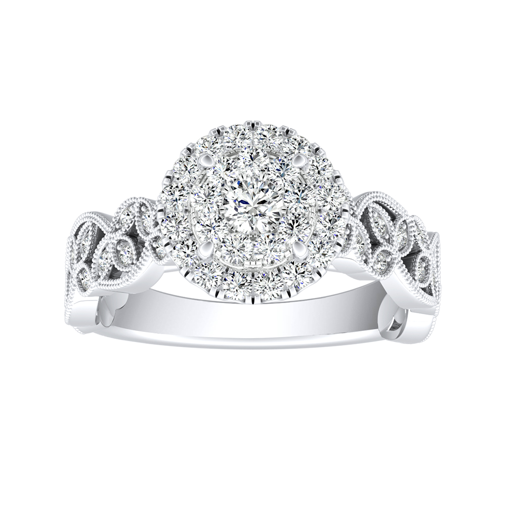KIMBERLY Vintage Halo Diamond Engagement Ring In 14K White Gold With Round Diamond In H-I SI1-SI2 Quality