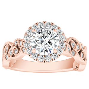 KIMBERLY Vintage Halo Diamond Engagement Ring In 14K Rose Gold