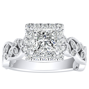 KIMBERLY Vintage Halo Diamond Engagement Ring In 14K White Gold