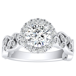 KIMBERLY Vintage Halo Moissanite Engagement Ring In 14K White Gold With 0.50 Carat Round Stone