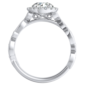 KIMBERLY Vintage Halo Diamond Engagement Ring In 14K White Gold With 0.50ct. Round Diamond