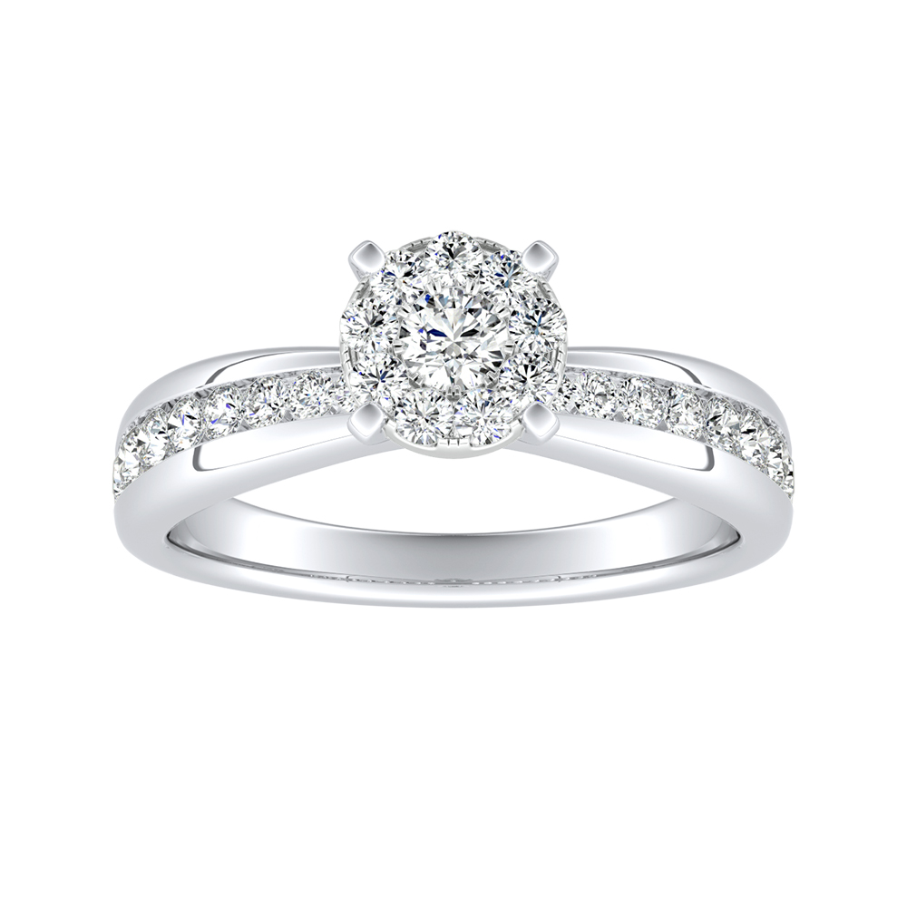 AUBREE Classic Diamond Engagement Ring In 14K White Gold With Round Diamond In H-I SI1-SI2 Quality